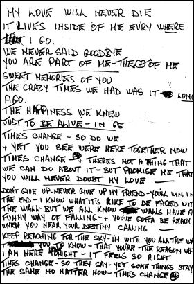 Petula's handwritten lyrics